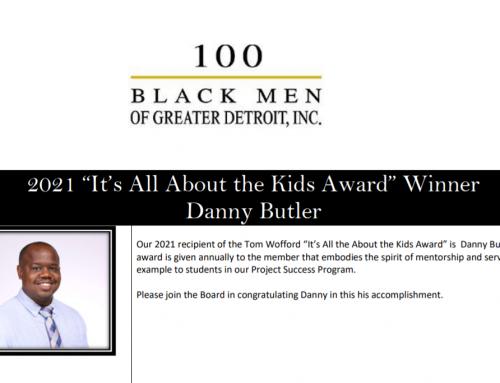 "Danny Butler Wins 100 Black Men Detroit 2021 ""It's All About the Kids Award"""